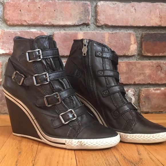 f54321b5b0a1 Ash Shoes - Ash Genial Wedge Sneaker Black Leather